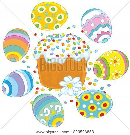 Festively decorated Easter cake and colorfully painted eggs with white flower, a vector illustration