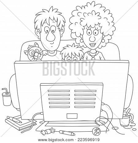 Funny family sitting on a sofa and watching TV, a vector illustration in cartoon style