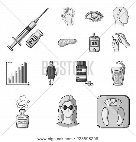 Diabetes monochrome icons in set collection for design. Treatment of diabetes vector symbol stock  illustration.