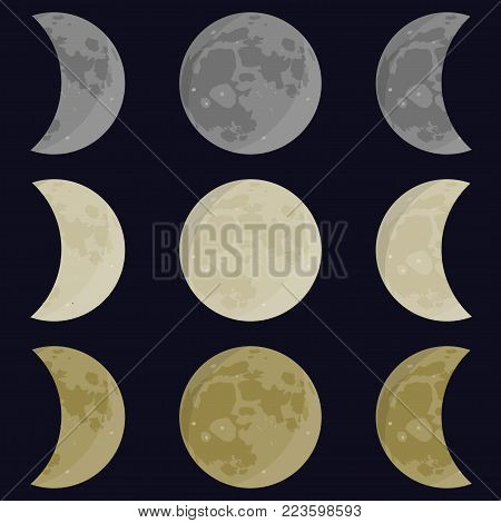 Yellow, gray, white moon. Full and half moon Phases vector illustration.