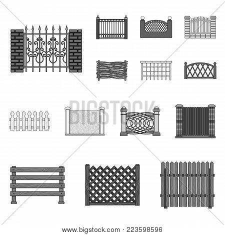 Different fence monochrome icons in set collection for design.Decorative fencing vector symbol stock  illustration.
