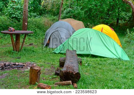 campground, cyclists on a camping, tent and bicycles
