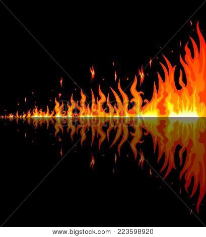 Flames burning fire. Burning fire with reflection on a black background. Border of abstract fire