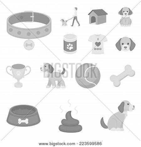 Pet dog monochrome icons in set collection for design. Caring for the puppy vector symbol stock  illustration.