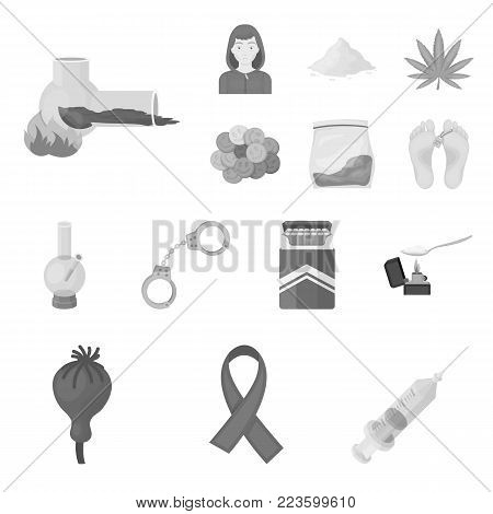 Drug addiction and attributes monochrome icons in set collection for design. Addict and Drug vector symbol stock  illustration.