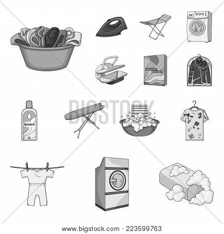 Dry cleaning equipment monochrome icons in set collection for design. Washing and ironing clothes vector symbol stock  illustration.