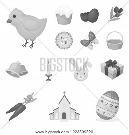 Easter is a Christian holiday monochrome icons in set collection for design. Easter attributes vector symbol stock  illustration.