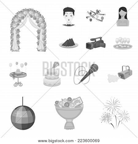 Event Organisation monochrome icons in set collection for design.Celebration and Attributes vector symbol stock  illustration.