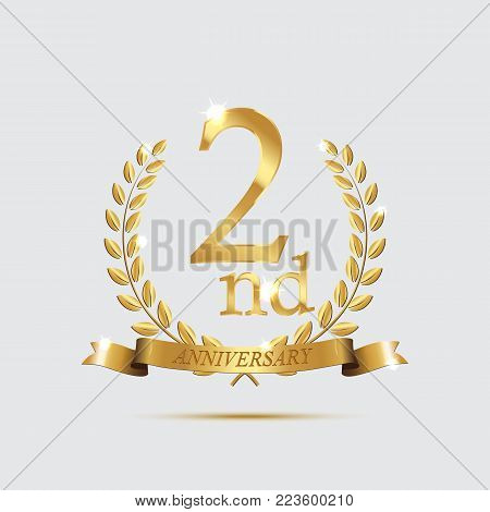 2 anniversary golden symbol. Golden laurel wreaths with ribbons and second anniversary year symbol on light background. Vector anniversary design element
