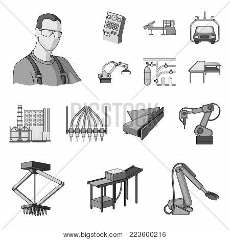 Equipment and machine monochrome icons in set collection for design. Technical progress of the factory vector symbol stock illustration.