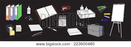 Horizontal set symbolizing the traditional office work performed in the thumbnail style on a black background