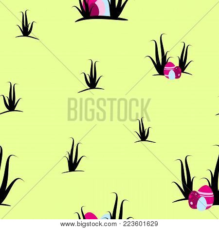 Easter seamless and tileable pattern design. Pink eastereggs ans shrubs on lime background.