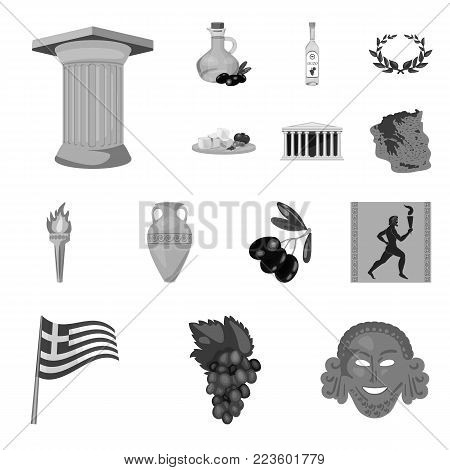 Country Greece monochrome icons in set collection for design.Greece and landmark vector symbol stock  illustration.