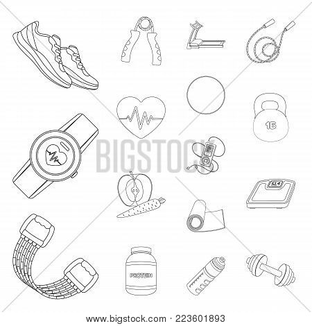 Gym and training outline icons in set collection for design. Gym and equipment vector symbol stock illustration.