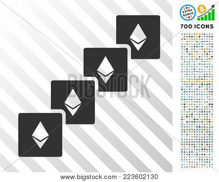 Ethereum Blockchain pictograph with 7 hundred bonus bitcoin mining and blockchain pictographs. Vector illustration style is flat iconic symbols designed for bitcoin apps.