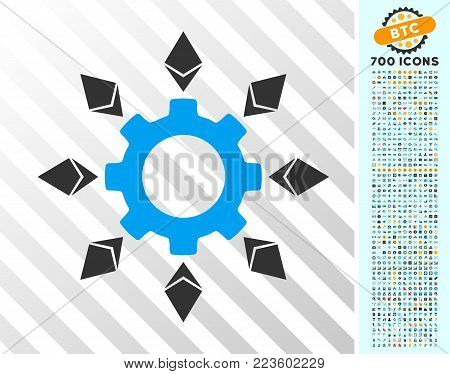Ethereum Configuration Gear icon with 7 hundred bonus bitcoin mining and blockchain pictures. Vector illustration style is flat iconic symbols designed for bitcoin websites.