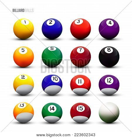 Isolated billiard balls on white background. Vector illustration.