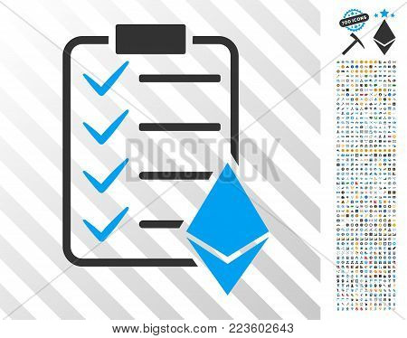 Ethereum Smart Contract icon with 700 bonus bitcoin mining and blockchain icons. Vector illustration style is flat iconic symbols designed for crypto currency websites.