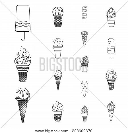 Different ice cream outline icons in set collection for design. Dessert and sweetness vector symbol stock  illustration.