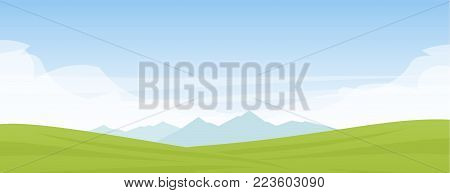 Summer panoramic cartoon flat landscape with mountains, hills and green field.
