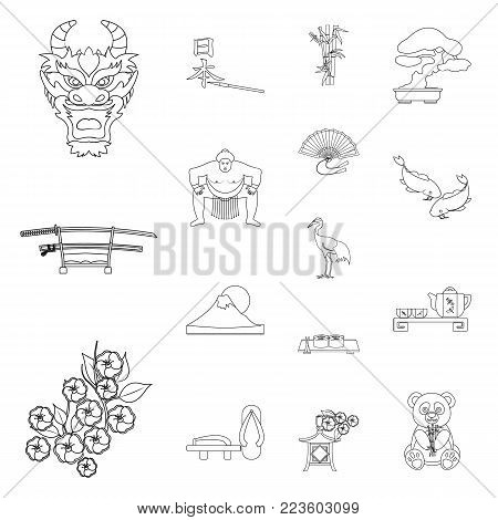 Country Japan outline icons in set collection for design.Japan and landmark vector symbol stock  illustration.