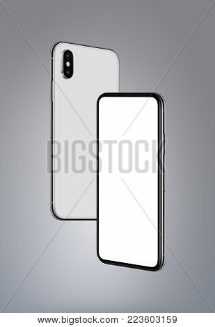 Similar to iPhone X white smartphones mockup hovering in the air on gray background. Smartphone front side with blank white screen and back side behind. High detailed realistic illustration. 3D illustration.