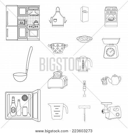 Kitchen equipment outline icons in set collection for design. Kitchen and accessories vector symbol stock  illustration.