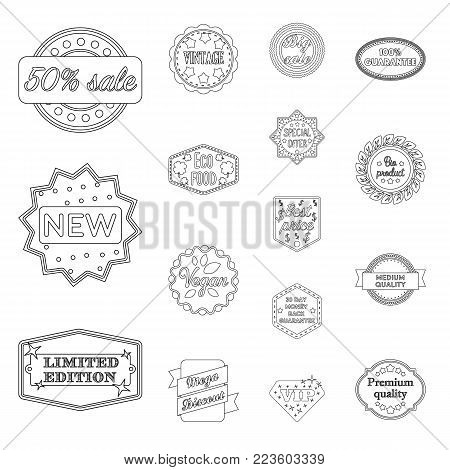 Different label outline icons in set collection for design. Index and brand vector symbol stock  illustration.