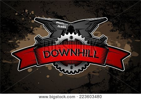 Downhill Motocros Label Design. Full Face Helmet. Mountain biking. Vector Ilustration.