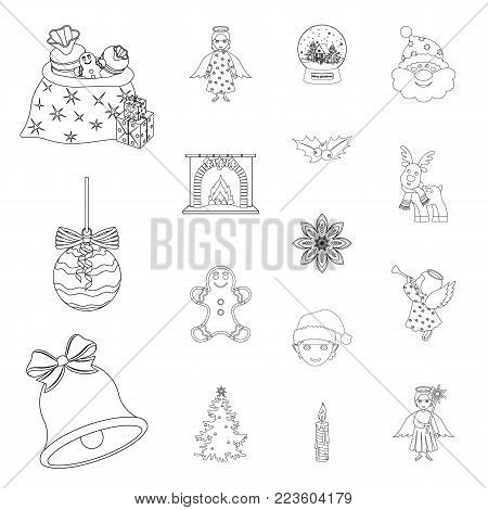 Christmas attributes and accessories outline icons in set collection for design. Merry Christmas vector symbol stock illustration.