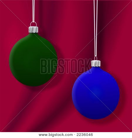 Christmas Ornaments On Red 3D Render