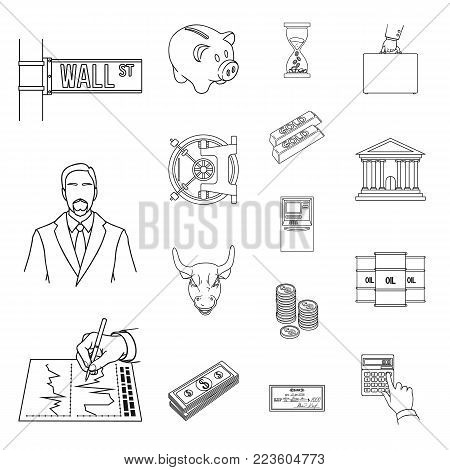 Money and Finance outline icons in set collection for design. Business and Success vector symbol stock  illustration.