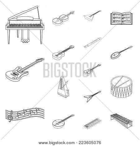 Musical instrument outline icons in set collection for design. String and Wind instrument isometric vector symbol stock illustration.