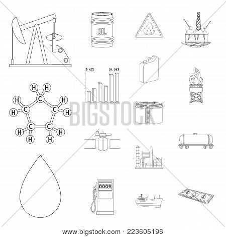 Interior of the workplace outline icons in set collection for design. Office furniture vector symbol stock  illustration.