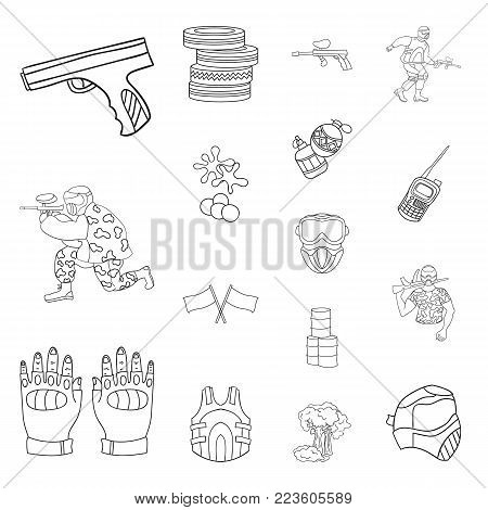 Paintball, team game outline icons in set collection for design. Equipment and outfit vector symbol stock  illustration.
