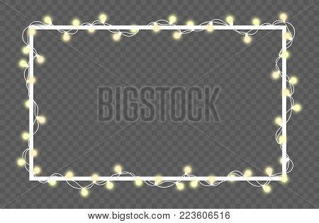 Vector illustration of light garland and frame isolated on background. Glowing light with place for text. Set of color string Christmas, New Year garlands. Realistic party decoration with transparency