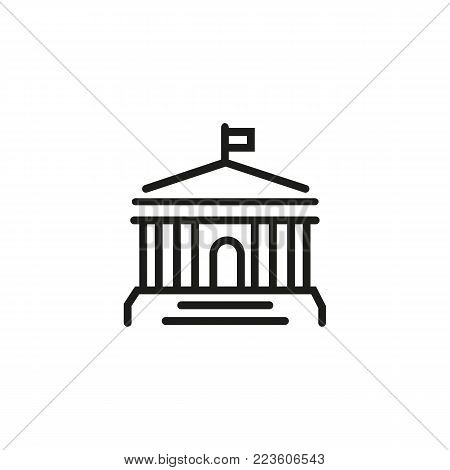 Icon of building with columns and flag on top. Bank, museum, court. Building concept. Can be used for topics like architecture, government, real estate.