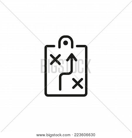 Icon of business strategy. Tactics, plan, notepad. Strategy concept. Can be used for topics like business, management, sport.