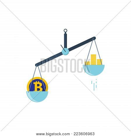 Scales with two bowls. On one side of the scale is money, on the second scale is bitcoin. Vector illustration Flat design.