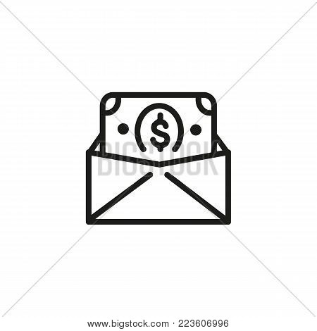Icon of envelope with money. Dollar, salary, cash. Finance concept. Can be used for topics like business, salary, transfer, corruption.