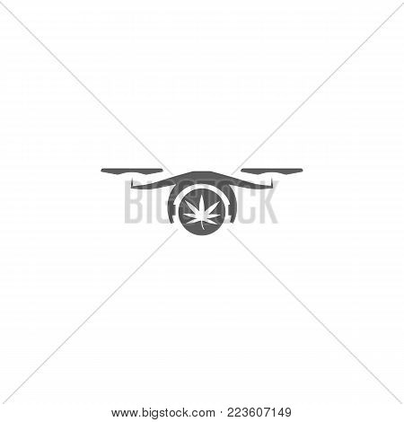 drone with a cargo of marijuana icon. Elements of a controlled aircraft icon. Premium quality graphic design. Signs, outline symbols collection icon for websites, web design on white background