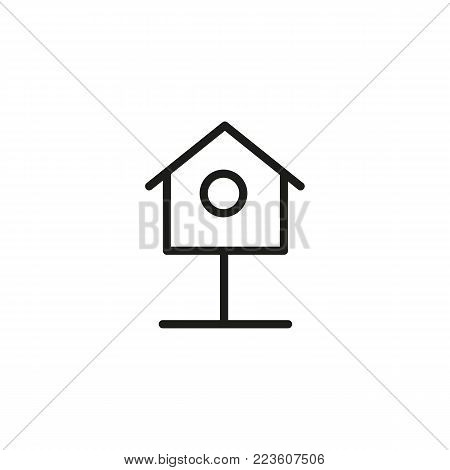 Icon of nest box. Birdhouse, nestling, shelter. Environment concept. Can be used for topics like birds, housing, gardening.
