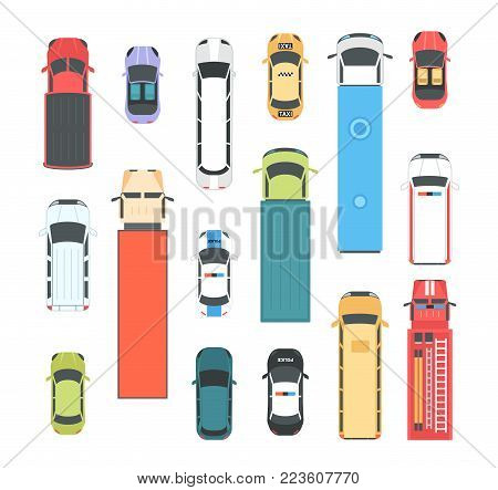 Vehicles - set of modern vector city elements isolated on white background for creating your own images. Different cars, buses, lorries, firefighting engine, police, taxi. Top view position