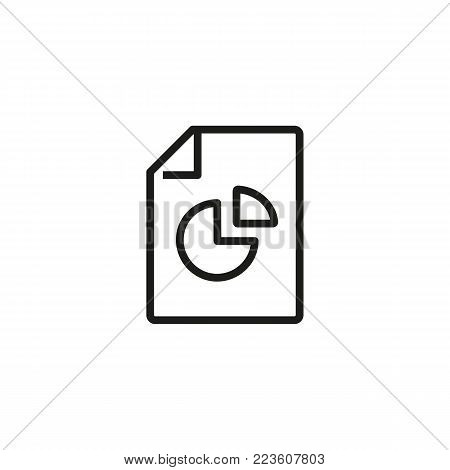 Icon of pie diagram on paper. Data, pie, chart. Research concept. Can be used for topics like business, marketing, analysis.
