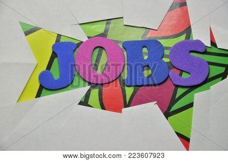 word jobs on an   abstract colorerd backgroun d