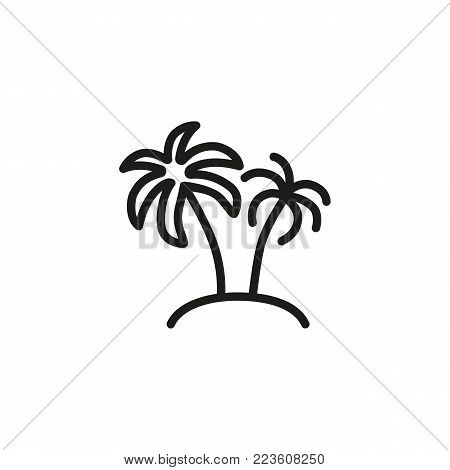 Icon of two palms and island. Beach, tropics, coast. Vacation concept. Can be used for topics like travel, nature, summer.
