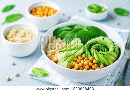 Roasted Chickpeas Spinach Quinoa Avocado Cucumber Buddha bowl