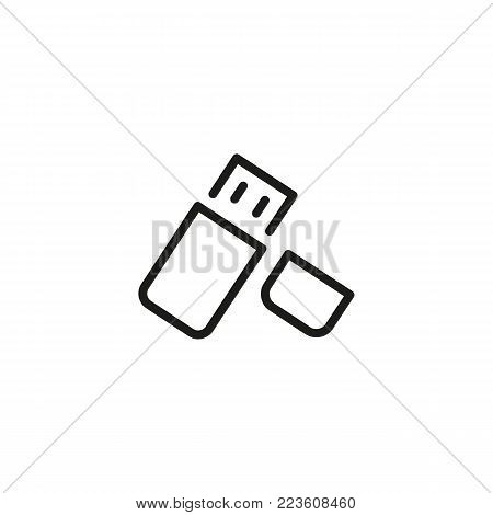 Icon of USB flash drive. Data, memory, storage. Data transfer concept. Can be used for topics like modern technology, hardware, storage.
