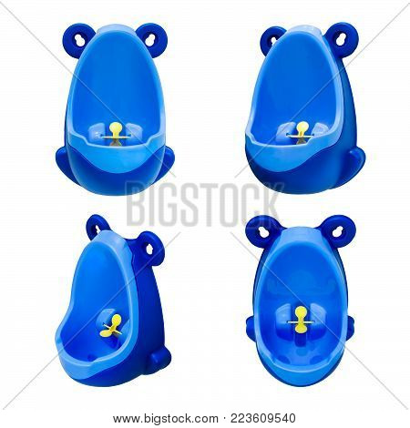 Funny baby urinal for boys. Housebreaking. To pee standing up. Object isolated on white background. Set of four foreshortenings