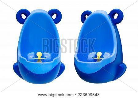 Funny baby urinal for boys. Housebreaking. To pee standing up. Object isolated on white background. Set of two foreshortenings